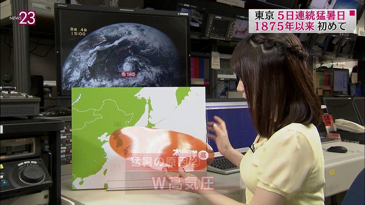 TBS「NEWS23」の巨乳お天気お姉さん、國本未華の横乳