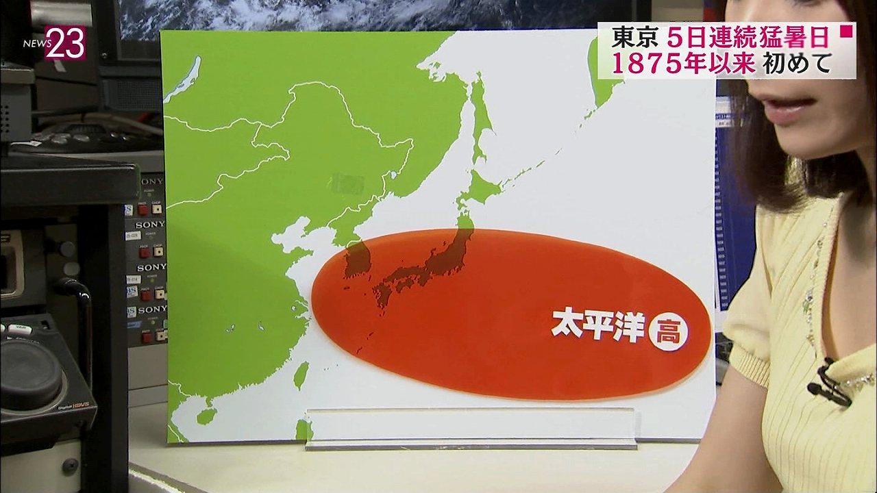 「NEWS23」の爆乳お天気お姉さん、國本未華の横乳