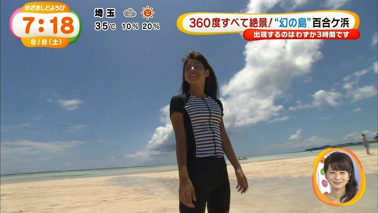フジテレビ「めざましどようび」ロケで水着を着た岡副麻希アナ
