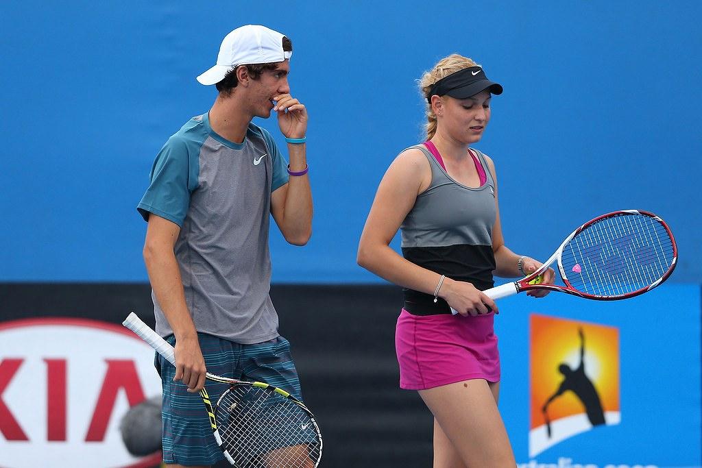 テニスプレイヤーのニック・キリオスとドナ・ベキッチのツーショット