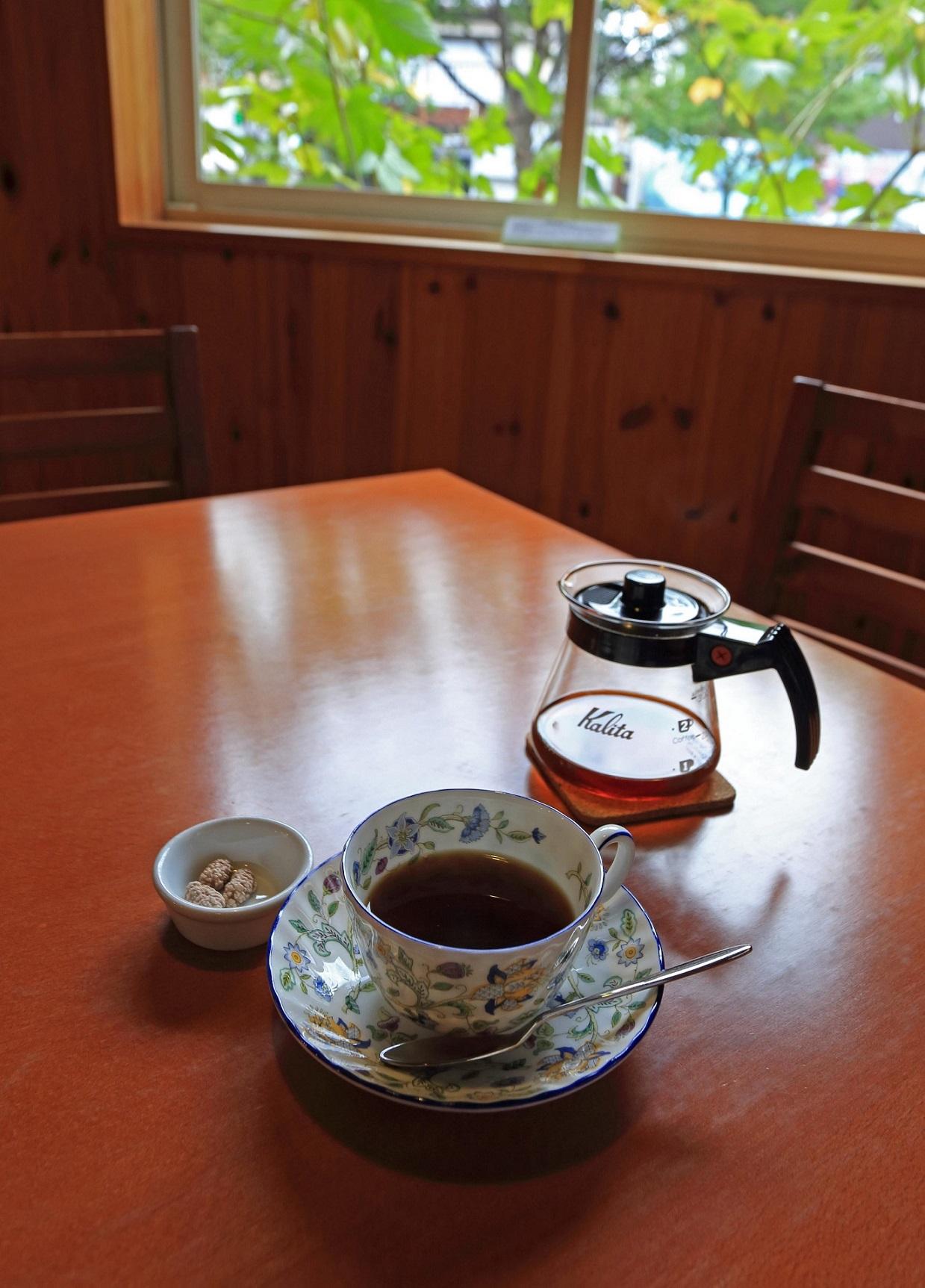 ビーンズ机と窓とコーヒー