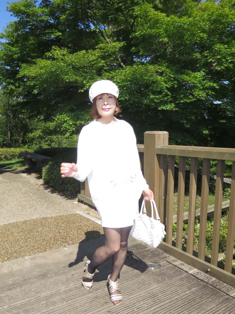 シンプル白ワンピ帽子A(5)