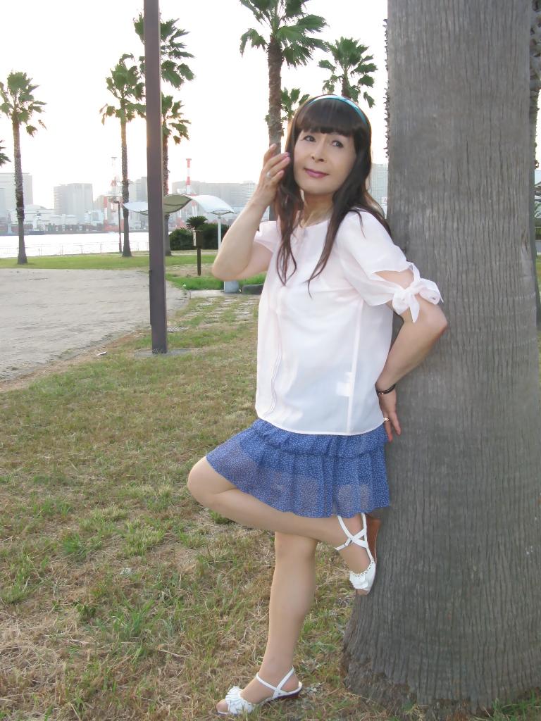 100903青シフォンスカート(1)