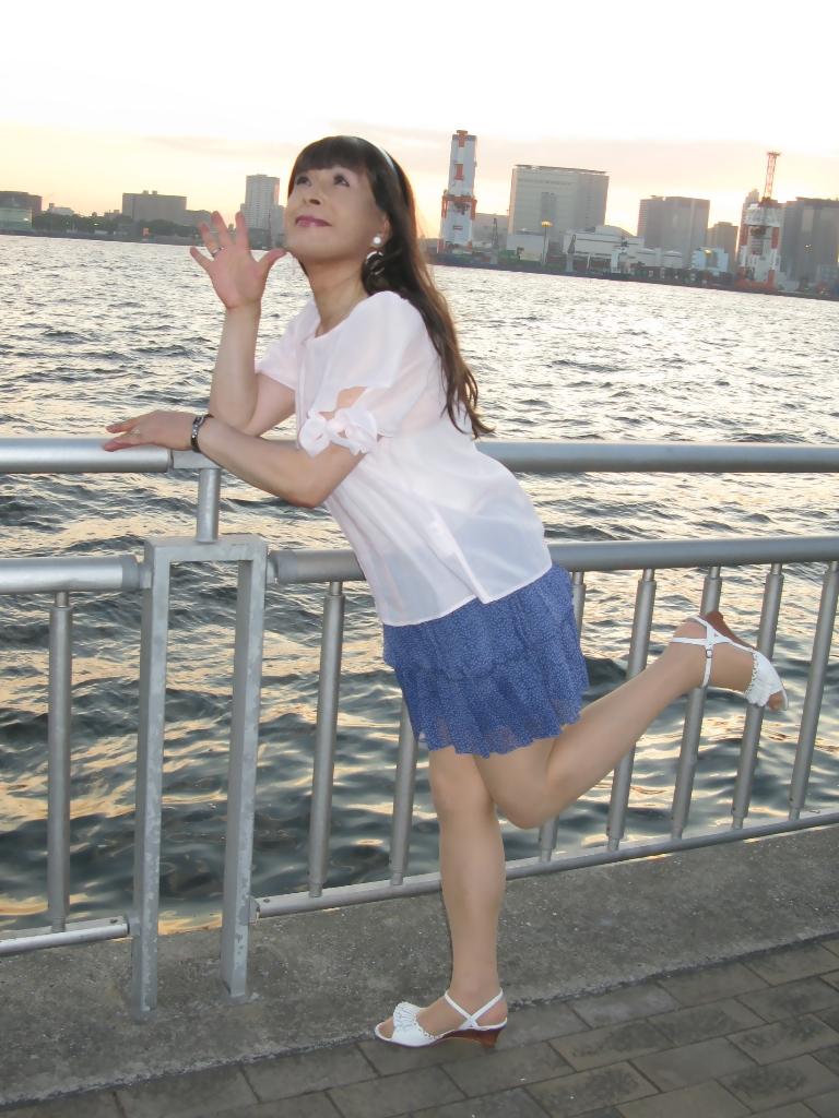 100903青シフォンスカート(2)
