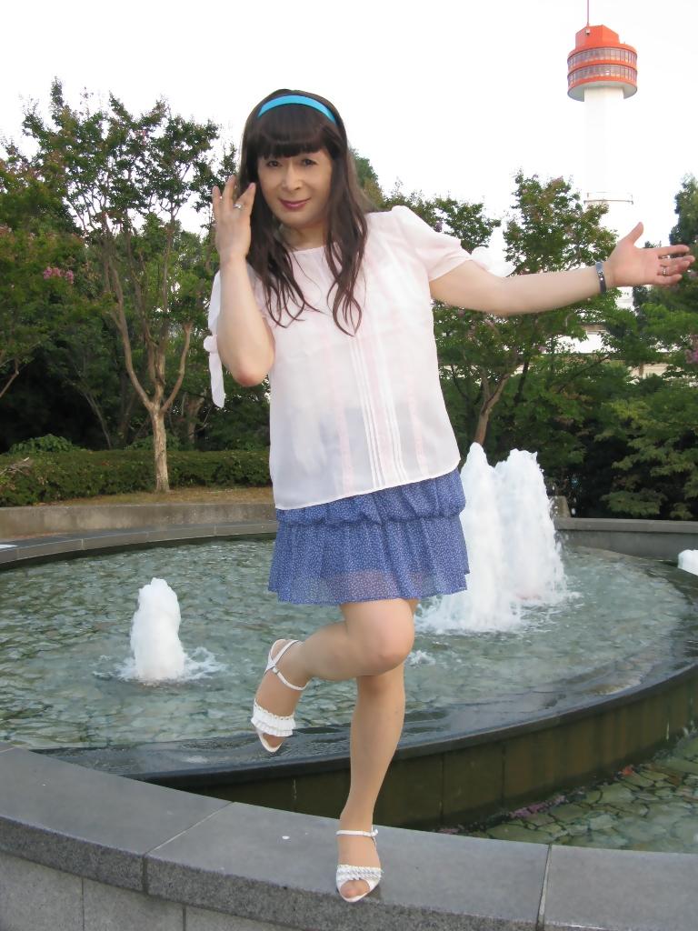 100903青シフォンスカート(3)
