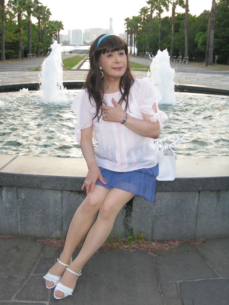 100903青シフォンスカート(4)