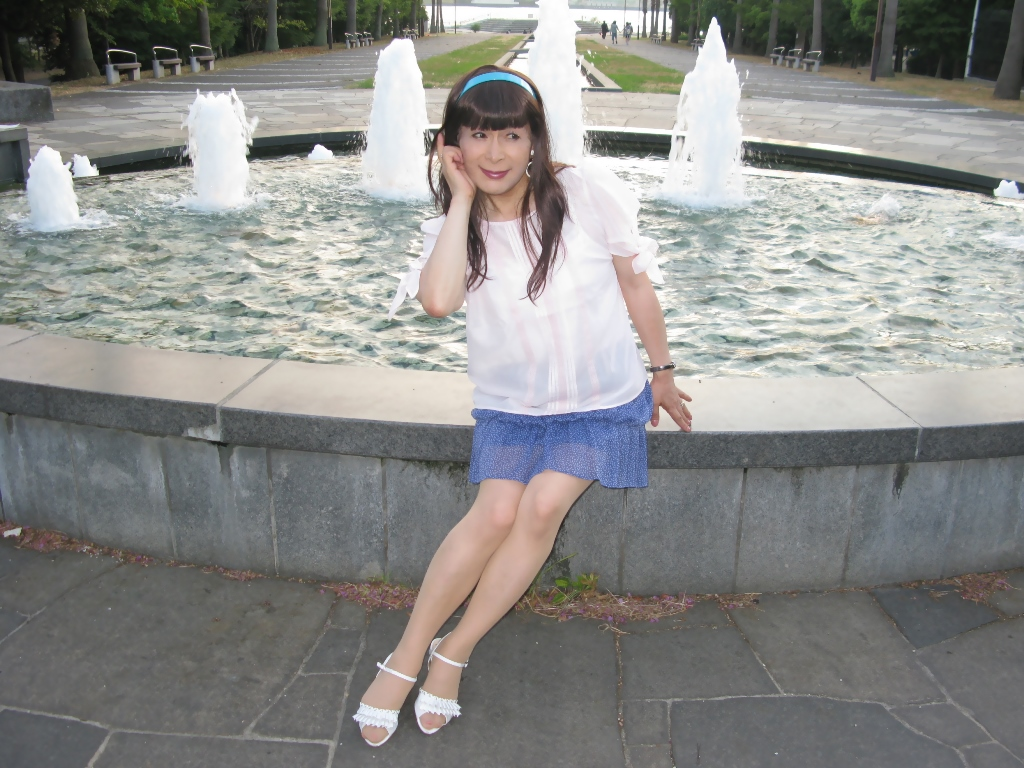 100903青シフォンスカート(5)