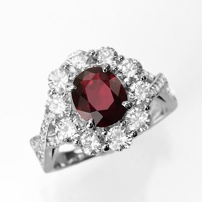 ミャンマー産非加熱ピジョンブラッドルビー1.63ctプラチナリングダイヤ1.60ct付