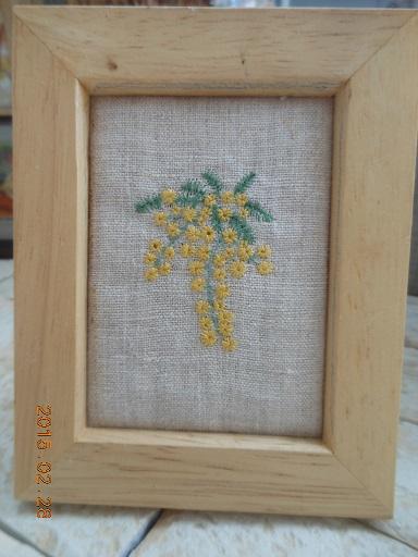 ミモザ刺繍