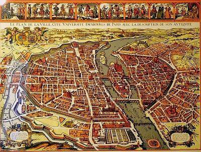 s-1630年刊行のパリ市地図。フィリップ・オーギュストの城壁が街を取り囲み、左岸にはその外に稜堡式城壁