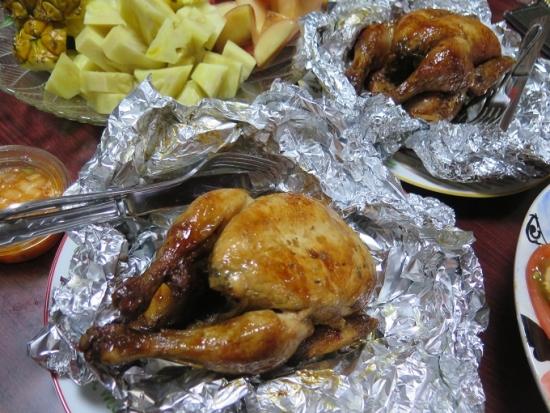 鶏の丸焼き晩御飯