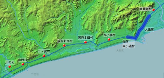 東海道:淘綾郡中の各村の位置