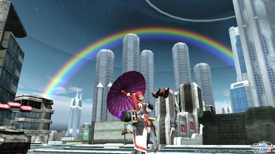 市街地で虹♪