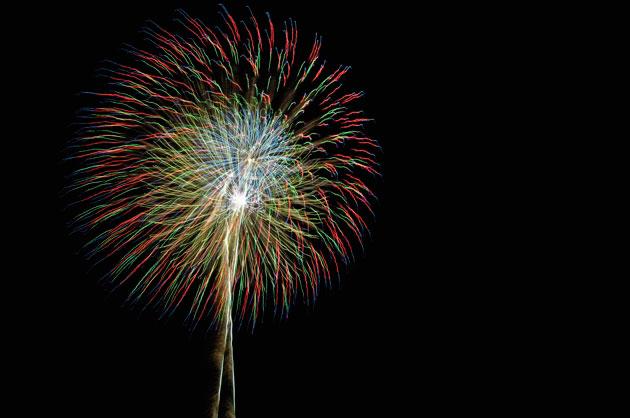 花火を2つ重ねて撮影。
