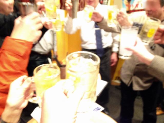 2015.1.24 立文研新年会。2軒目は立ち食い酒場『酒達』@新在家。