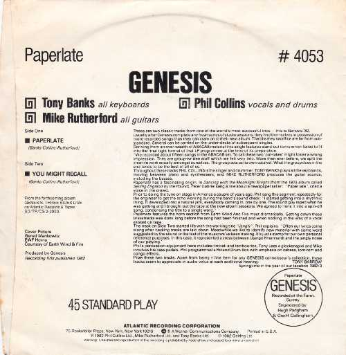 Genesis - Paperlate Back