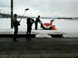 除雪機安全に関する取材の写真