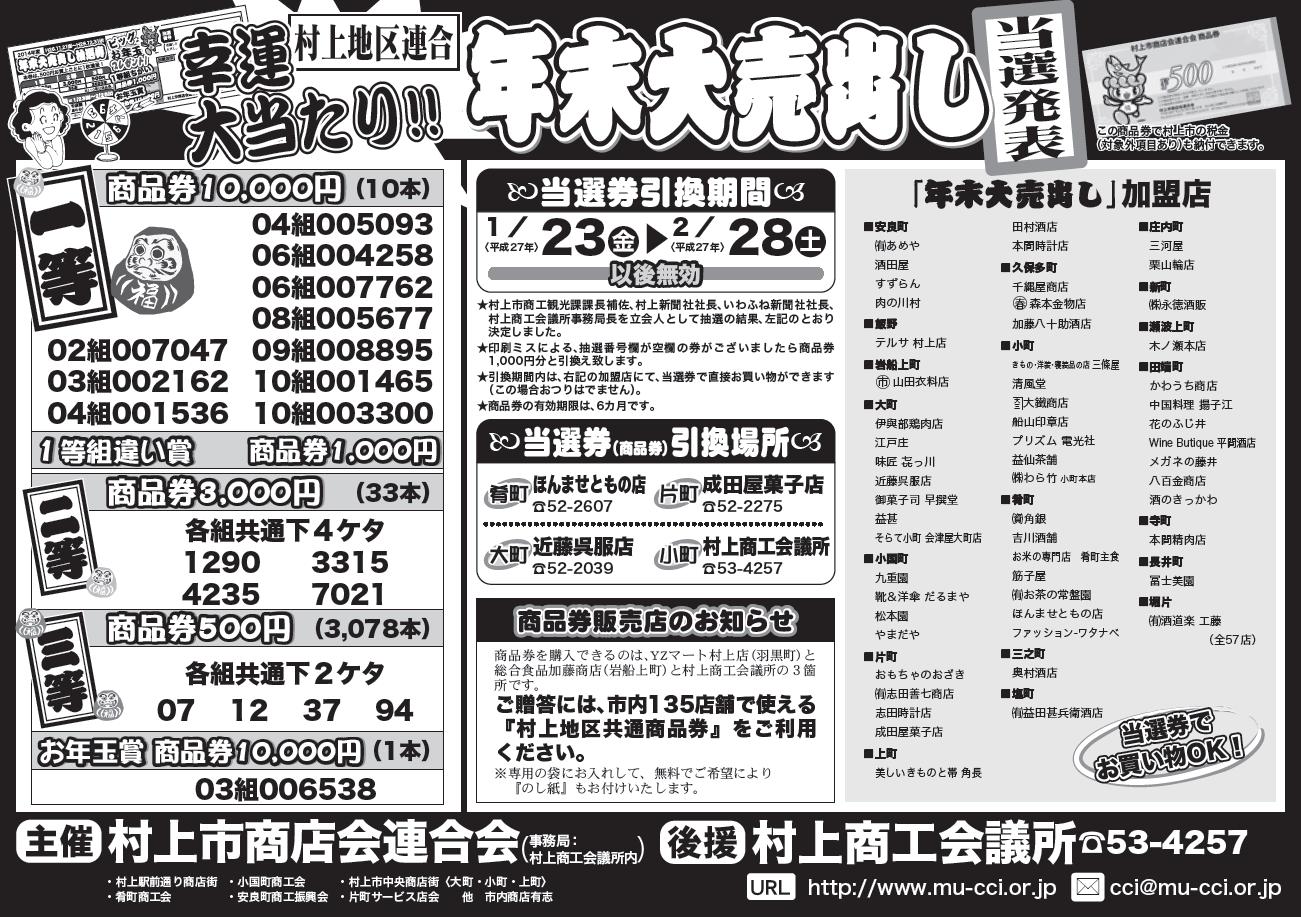 2015年末抽選券当選発表