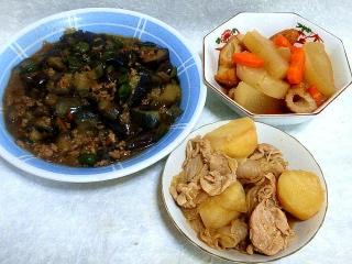 150804_3375茄子とピーマンの肉味噌炒め・大根と人参に煮物・肉じゃがVGA