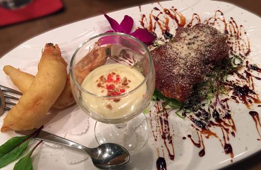 伝助穴子のフリット チーズ風味と海老のマヨネーズソース