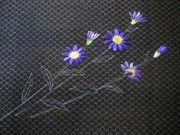 日本刺繍 古布の刺繍帯 腹文 都忘れ1