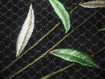 日本刺繍 古布の刺繍帯 腹文 都忘れ3