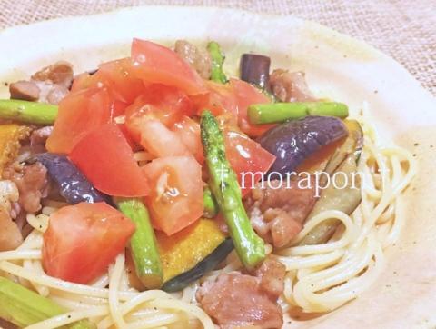 150810 蛸のアヒージョと夏野菜のパスタ-2