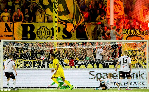 Aubameyang scored his second goal in the 76th minute in front of Dortmunds travelling supporters