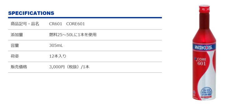 新発売 ワコーズ CORE 601 J-PASSION 東海