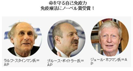 ノーベル賞 受賞者3氏