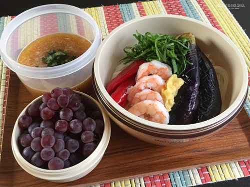 海老と揚げ茄子のおろし素麺弁当01
