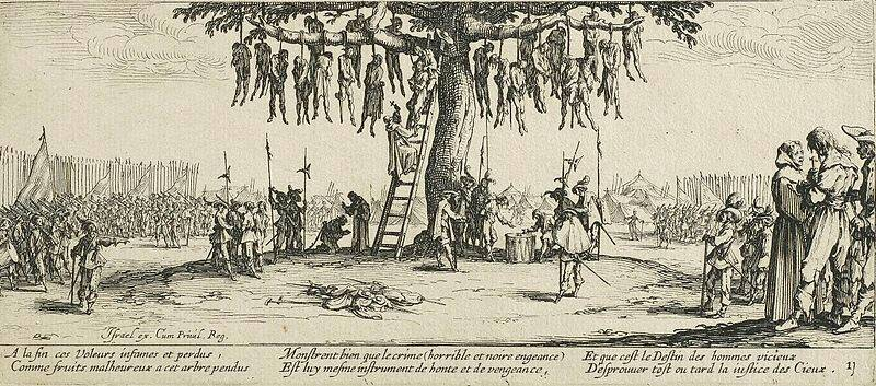 三十年戦争時の虐殺を描いたジャック・カロによる版画『戦争の惨禍』