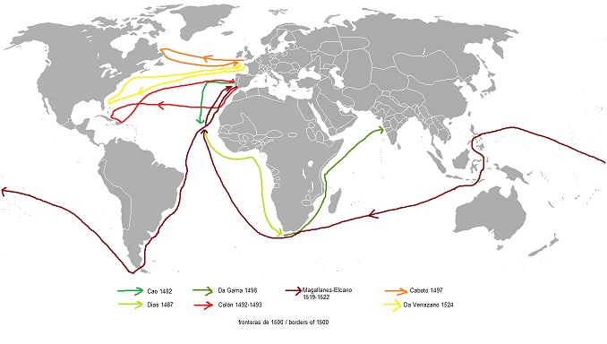 大航海時代の主な航路を示した地図