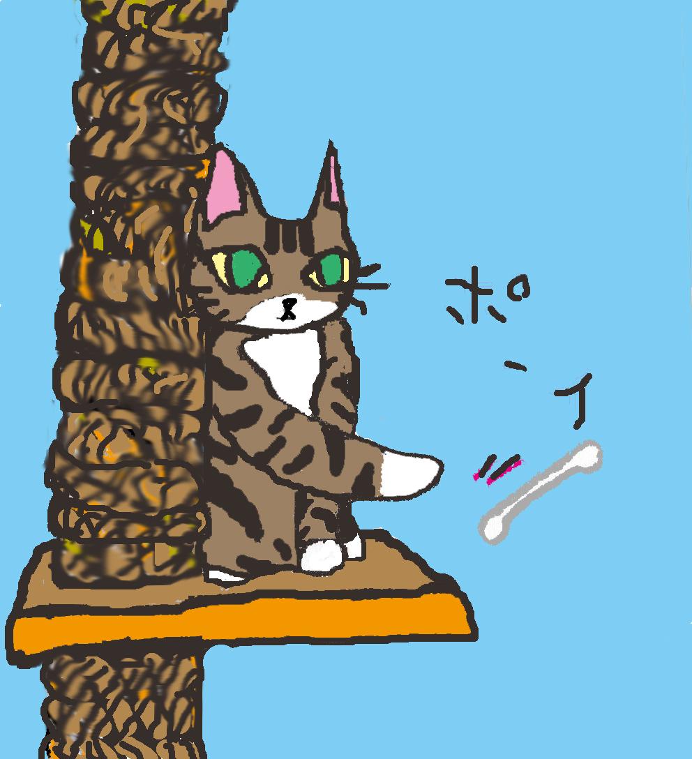 ピッコロのイラスト 猫 色付け