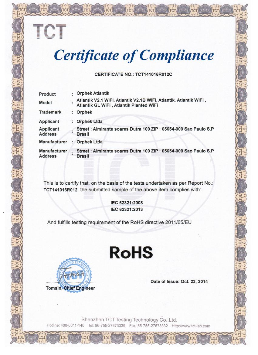 AT V2.1 ROHS certification
