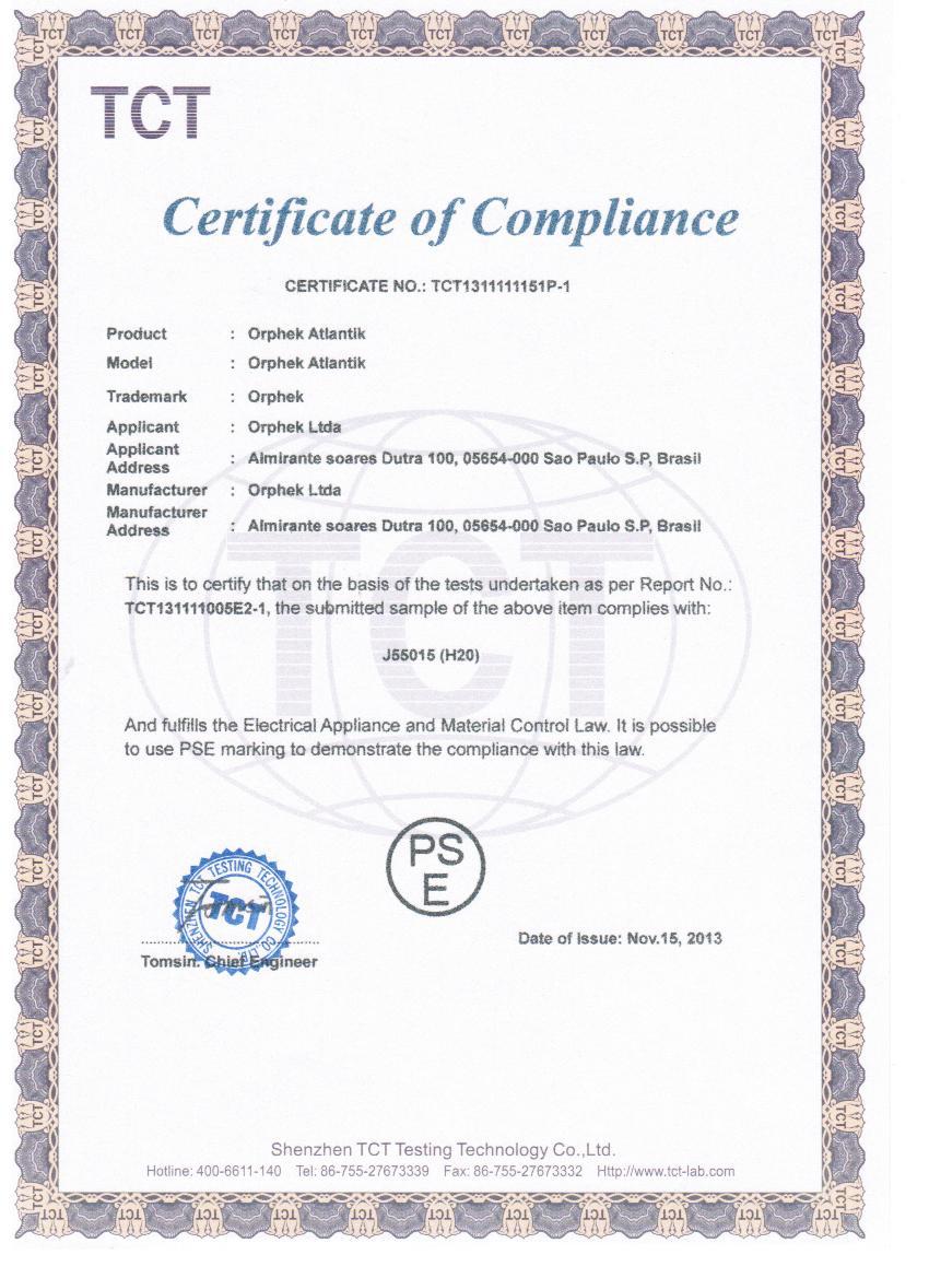 Atlantik PSE certificate