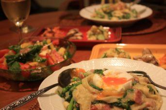 牡蠣のオイル漬けと菜の花とベーコンの豆乳クリームパスタ