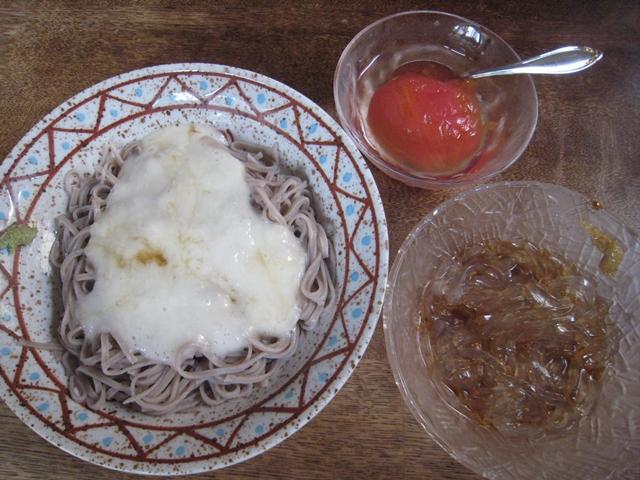 とろろ蕎麦・心太・トマトの甘煮