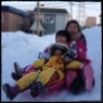 初友と雪遊び