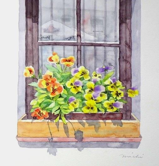 ビオラのある窓辺201501ブログA