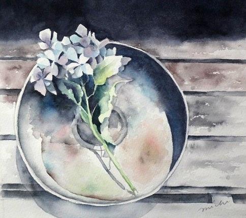 模写紫陽花と器A201501
