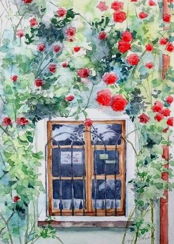 バラのある窓辺クトナーホラ201502