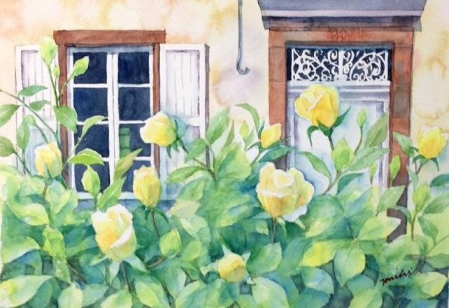 コンク黄バラのある家201507