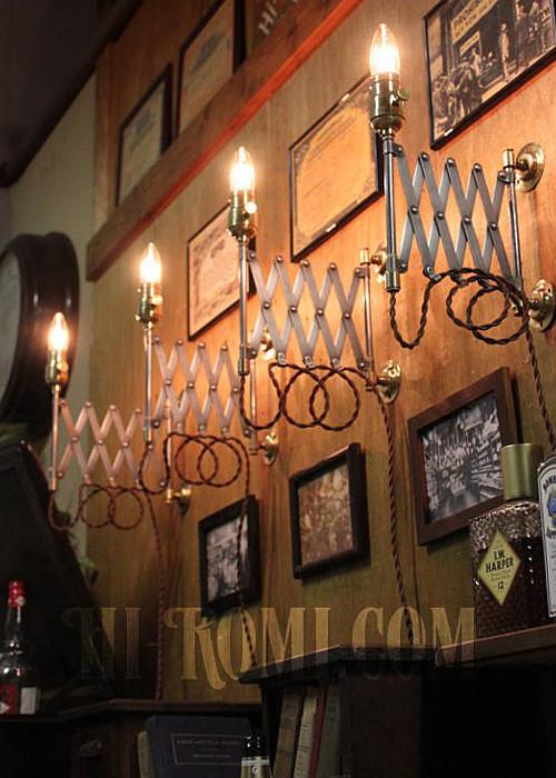 ヴィンテージ工業系シザーアームブラケット/インダストリアル真鍮製ファットボーイソケット付蛇腹ライト