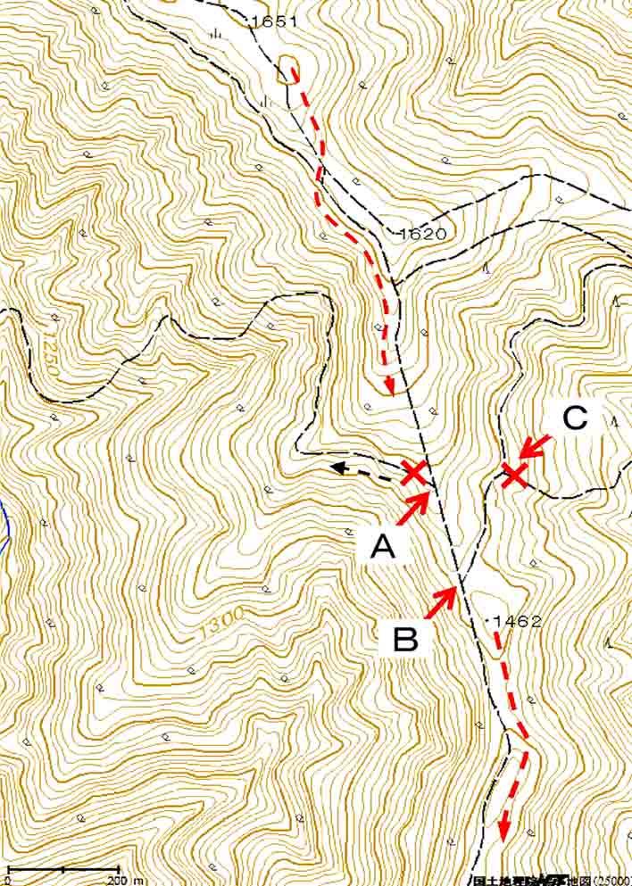 鷹巣山からの下り選択(地図)