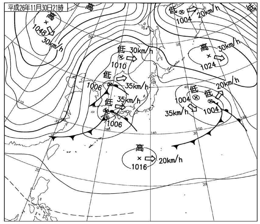 11月30日21時 地上天気図