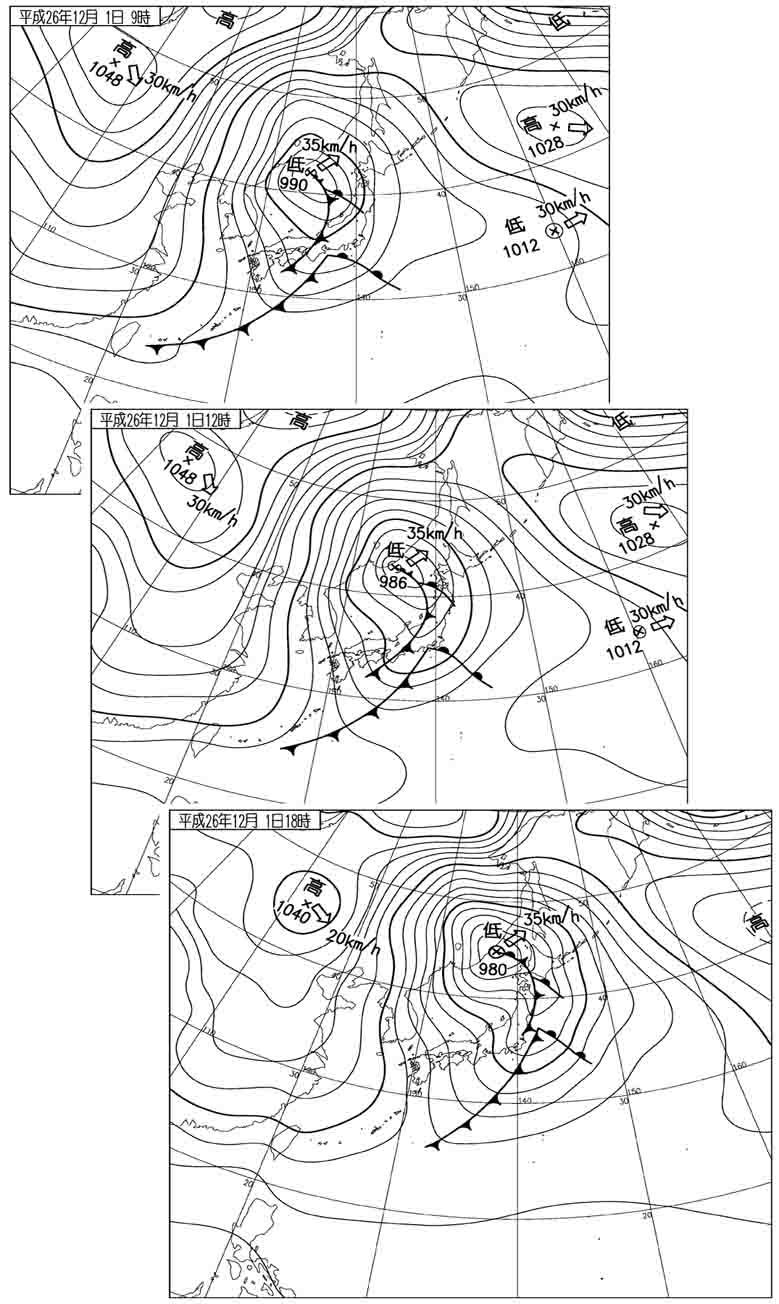 12月1日9~15時 地上天気図
