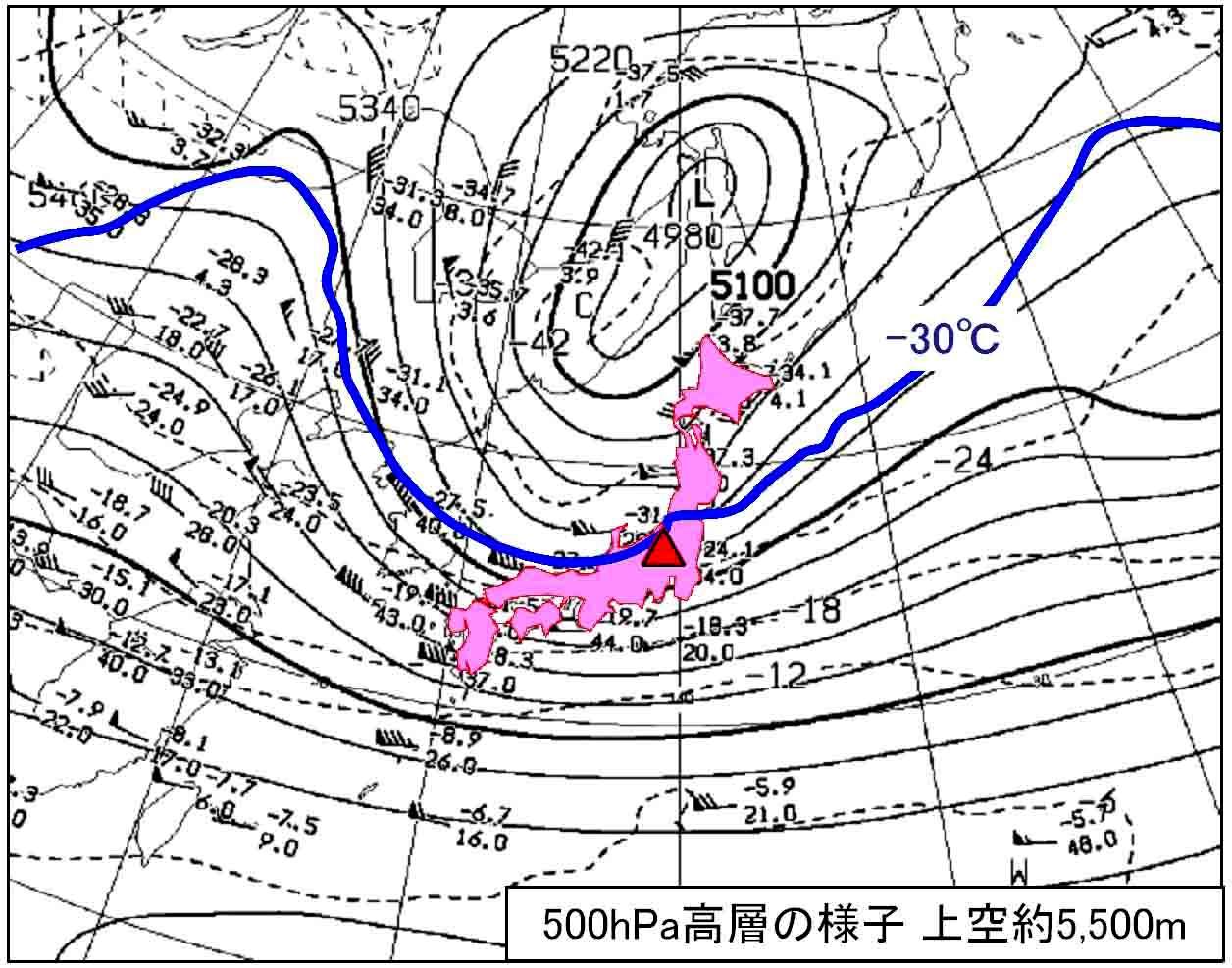 17日午前9時の500hPa天気図