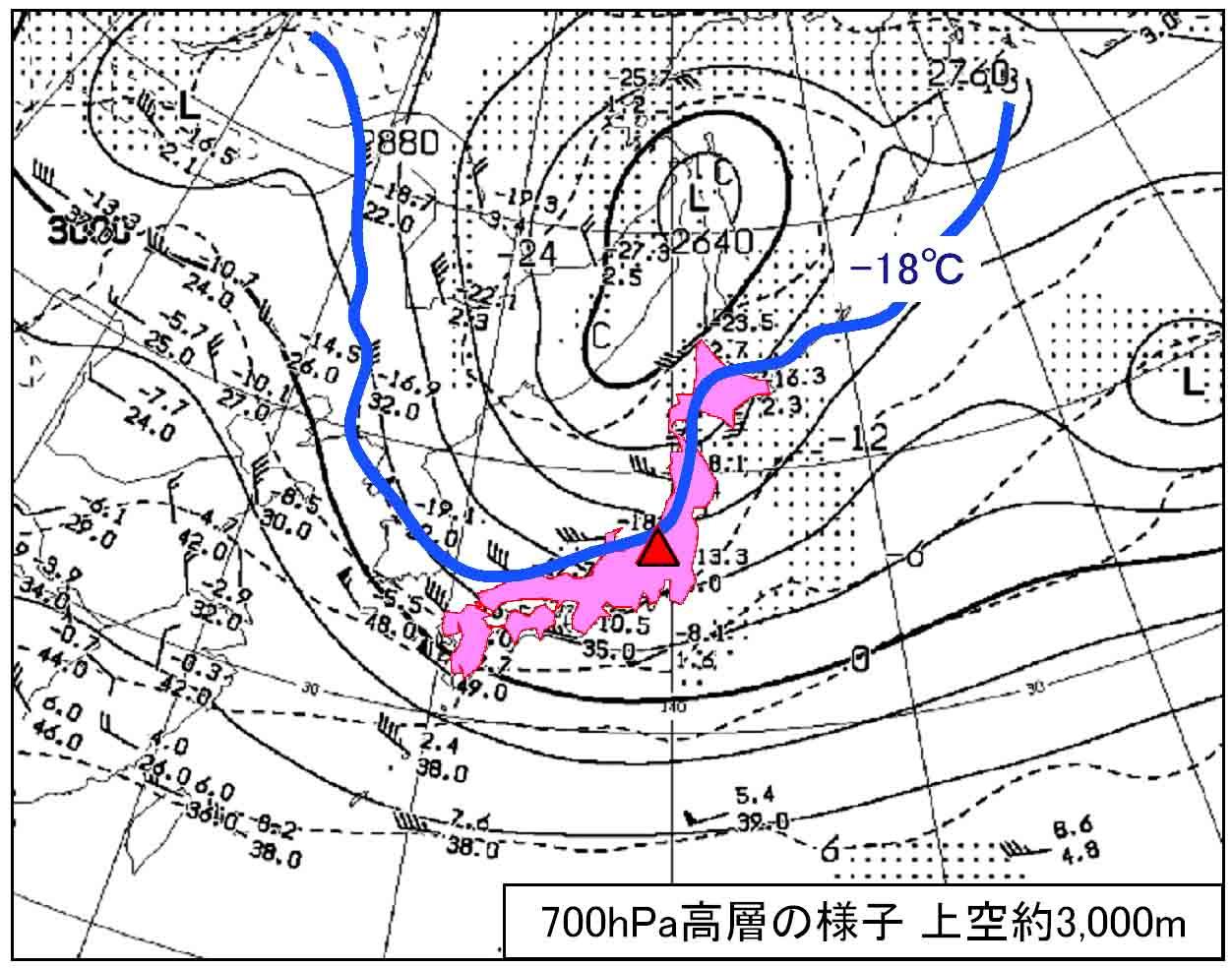 17日午前9時の700hPa天気図