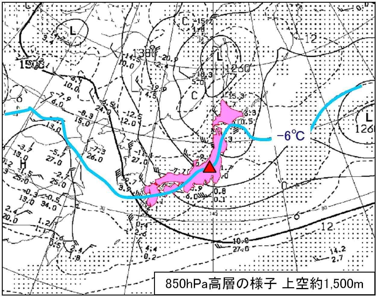 17日午前9時の850hPa天気図